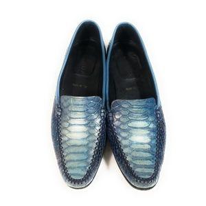 Escada Women Blue Snake Textured Loafers Sz 37